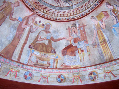 Frescoes in the tomb